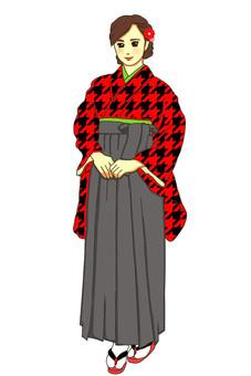 畢業典禮hakama紅色錯開