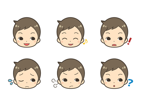 Male illustration facial expression set