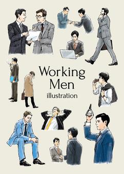 工作男性例證