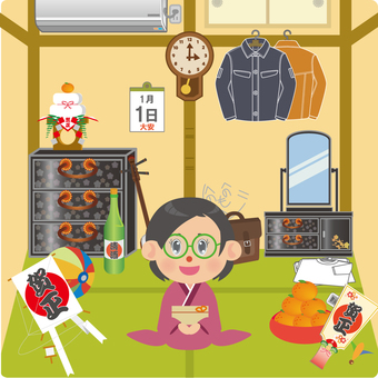 A woman sitting in a Japanese style room on New Year's Day