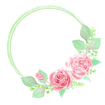 用透明水彩繪製的玫瑰框架