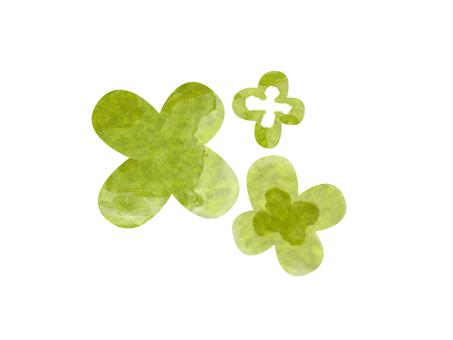 手拉的四片葉子三葉草水彩樣式