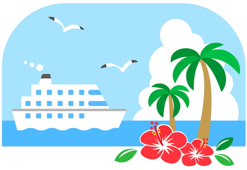 Travel image to a southern country with a cruise ship