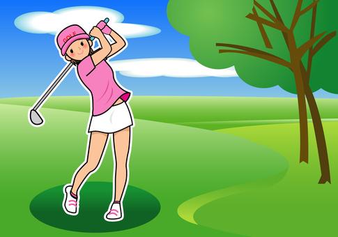 ゴルフをする女性2