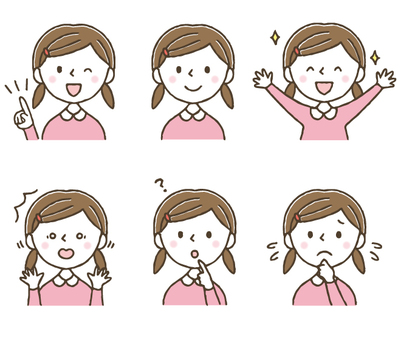 Pretty Girl Facial Expression Set / Children