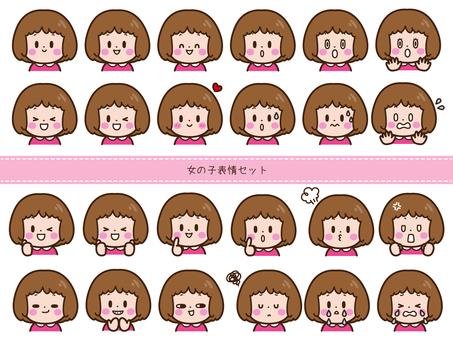 Girl facial expression set