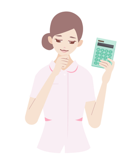 A woman thinking as a calculator (in the form of a nurse)