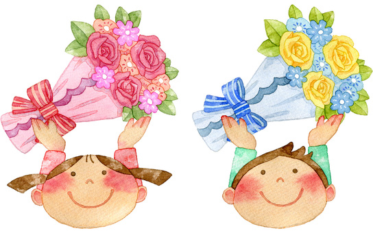 Children who lift flowers