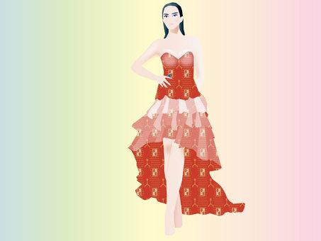 드레스 착용 모델 01
