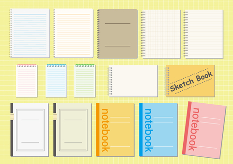 Illustrations of notepads, notes, sketchbooks