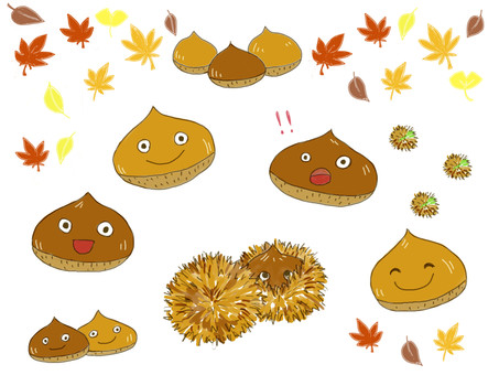 Autumn chestnut character set