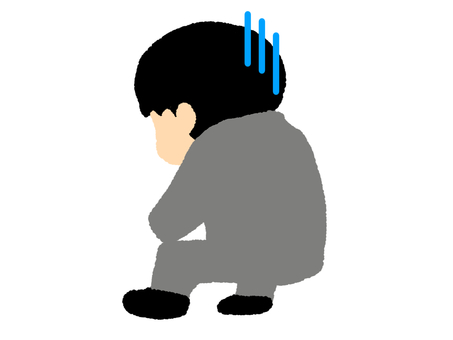 Rear view of a depressed man