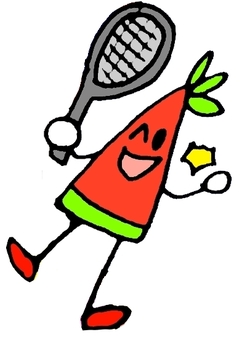 Watermelon playing tennis