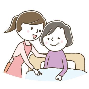 Cute female helper / elderly / elderly