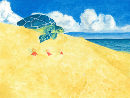 Watercolor Turtles on the beach and the horizon