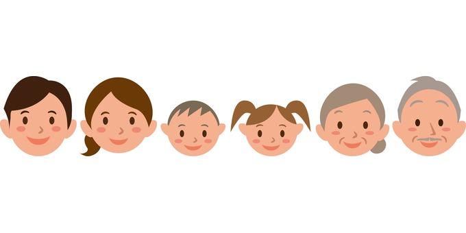 Family parent-child face 3 generations