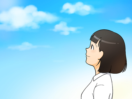 A girl watching the sky