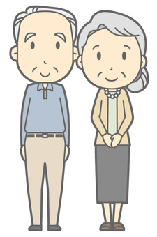 Elderly couple - stand up - whole body