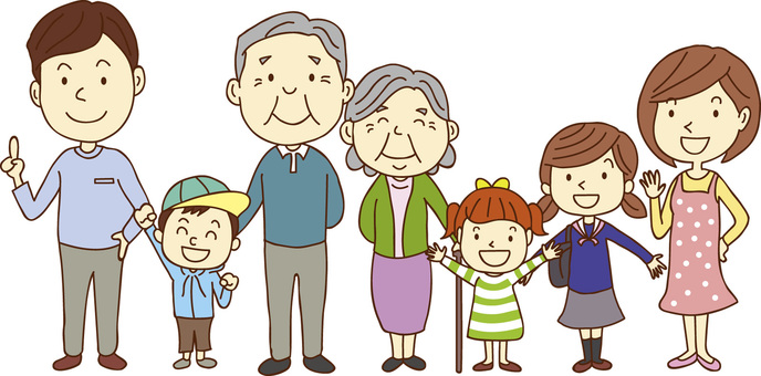Smiling family of seven people