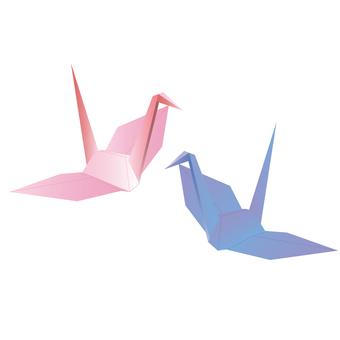 Illustrations of folding cranes