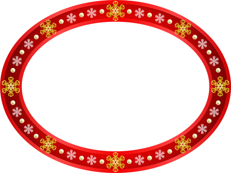 Red elliptical frame (snow crystal and pearl)