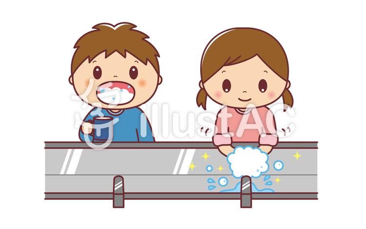 並んで手洗いうがいをする、男の子と女の子のイラスト