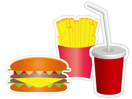 Hamburger set (white background / shadow)