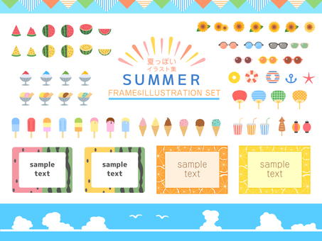 Summery frames & illustrations