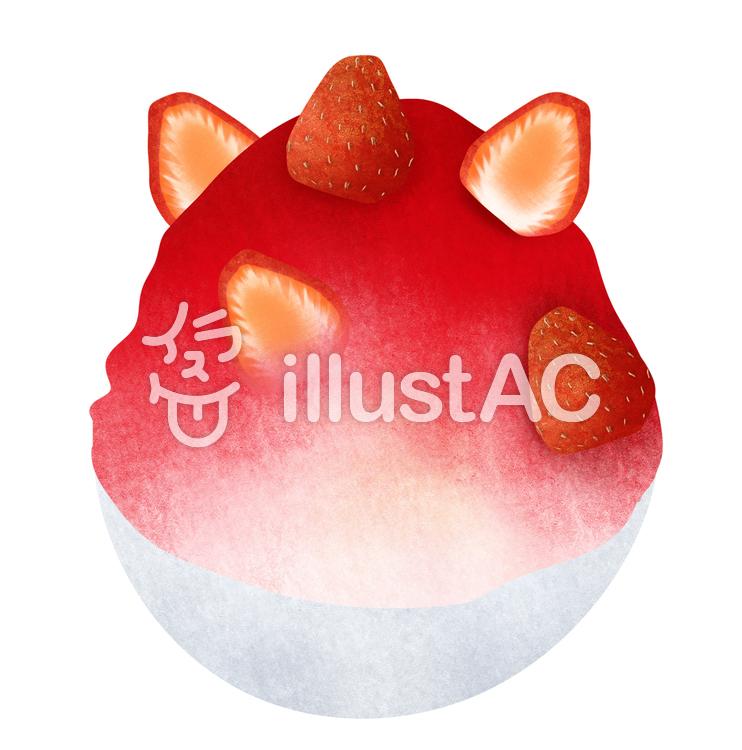 【フリーイラスト素材】いちごかき氷