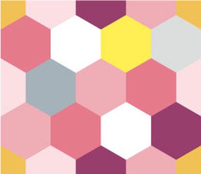六角形壁紙(粉紅色)