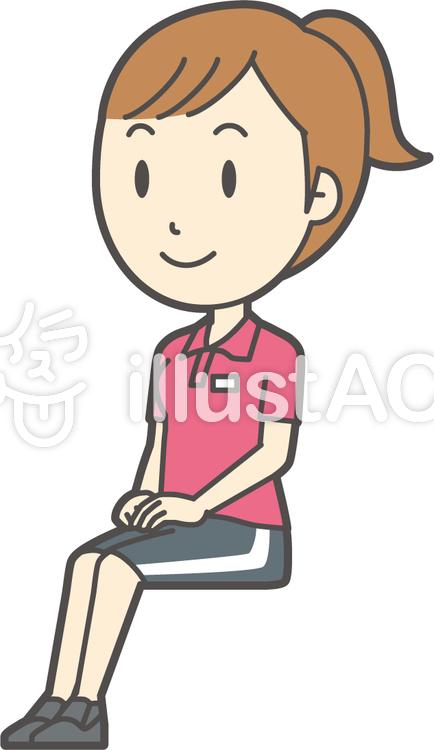 赤ポニーテール女性-200-全身のイラスト