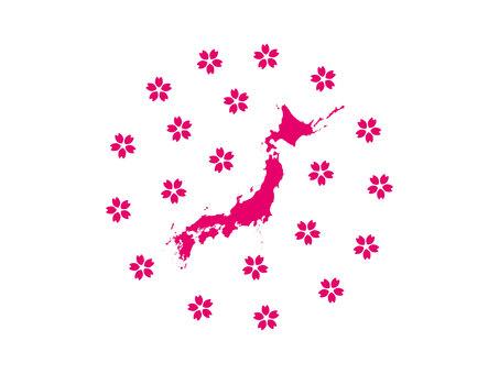 桜と日本地図シルエット