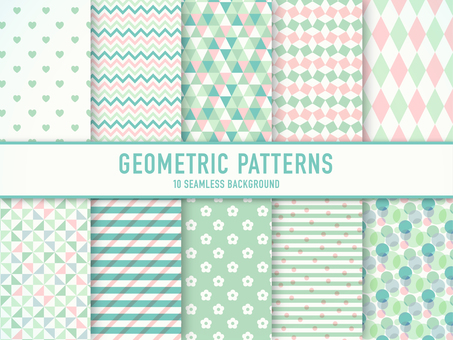 Set of geometric patterns (green)