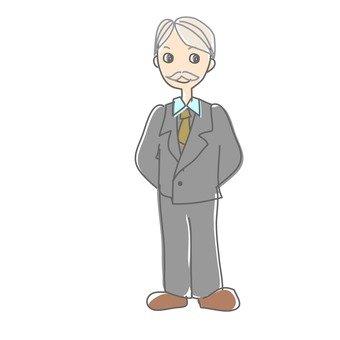 Suit gray hair men
