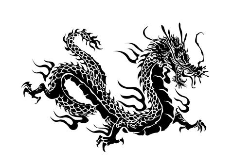 Dragon pattern silhouette 02-2