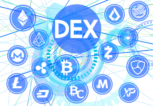 Virtual currency and decentralized exchange digital white background