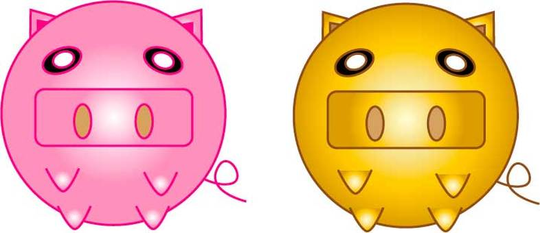 Gold pig and pink pig