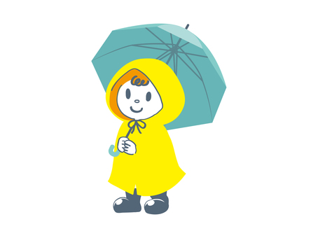 Child of raincoat green