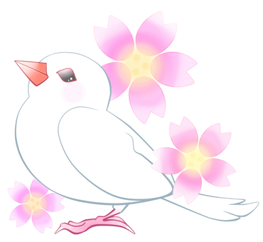 Stone bird and cherry tree 3