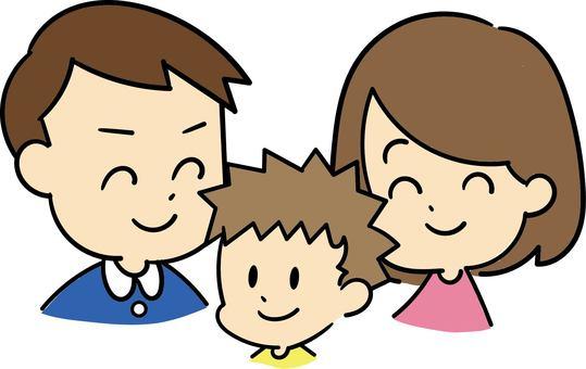 三個親密的家人的插圖