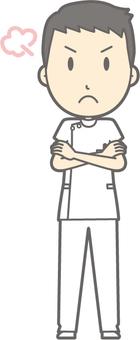 Male nurse - angry - whole body