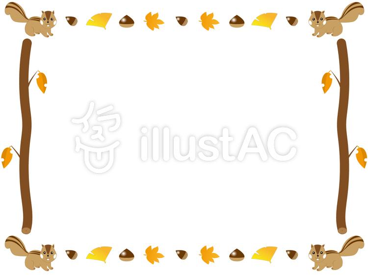森の秋のリスのイラスト