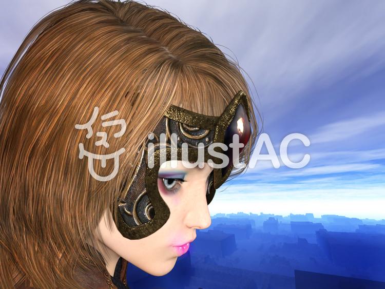 佇む古代の少女戦士のイラスト