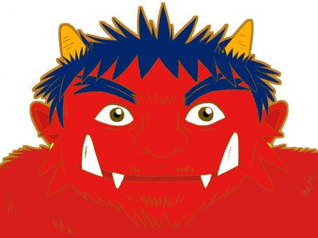 Red demon's face 02