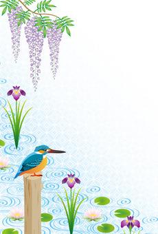 翠鳥和水邊的花朵