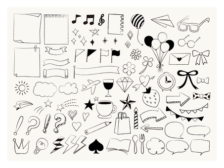Cute hand-drawn wind icon set