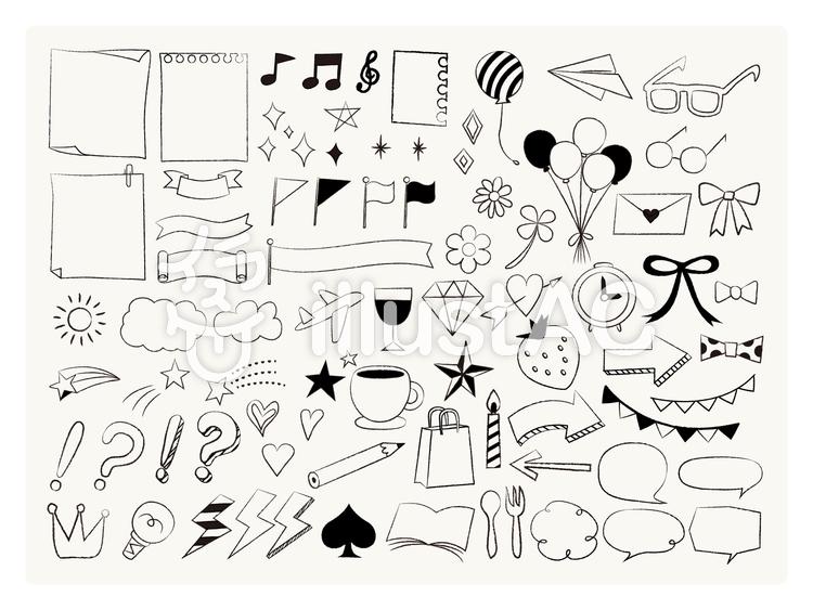 かわいい手描き風アイコンセットイラスト No 934457無料イラスト