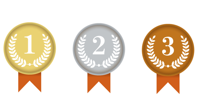 Gold and silver copper ranking logo
