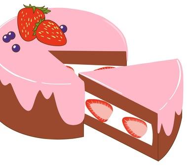 Cake with plenty of strawberry cream