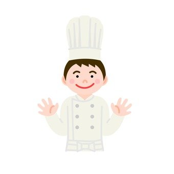 A chef spreading both hands